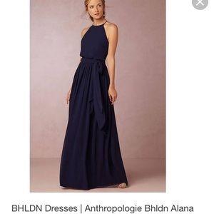 Donna Morgan bridesmaid dress in navy